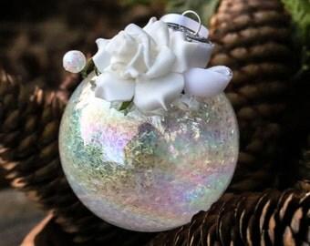 SALE!!! Velvet Rose Flocked Winter White Glass Round Ornament, Bridal Wedding Tinsel Glitter, Crystal Bead Gem Christmas Holiday Tree Decor