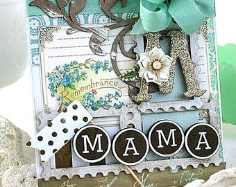 vintage mothers day card-REMBERANCE m is for MAMA-greeting