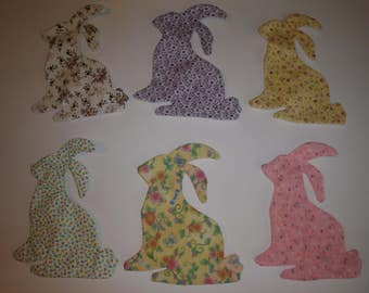 Bunny Appliques for quilts etc    Press and Sew   Set of 6        Style 2 Item 123