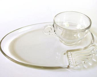 Vintage Clear Glass Snack Sets, Set of 4 Parti - Ade by Hazel Atlas