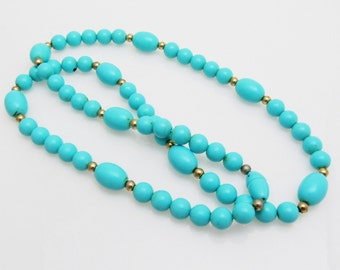 Vintage Blue Bead Necklace Turquoise Blue Jewelry N7596