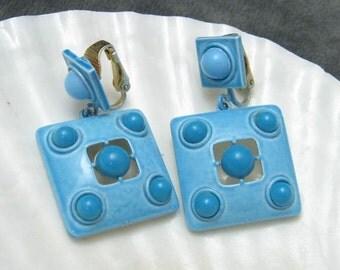 Vintage Blue Earrings Sixties Jewelry E3878