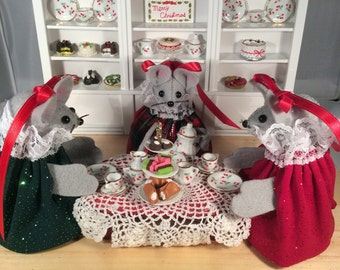 Mice at Their Christmas Tea! DISCONTINUED. 75.00