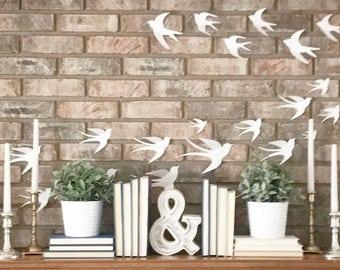 3D Bird Wall Decals, Set of 15, 3D Wall Decor, Living Space, Bird Stickers, Wall Art, Farmhouse Decor
