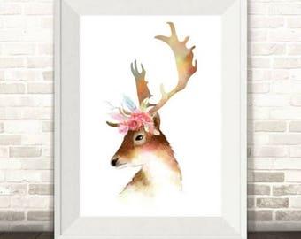 Deer Watercolour Illustration Print