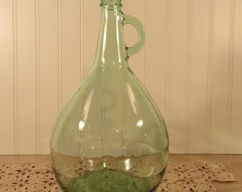 Vintage green glass Demijohn- 1 gallon, fine condition, beautiful and solid