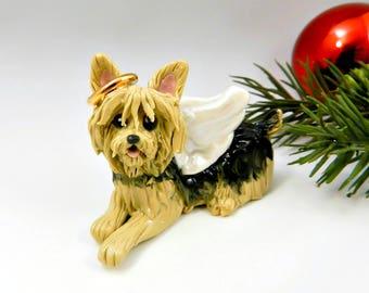 Yorkshire Terrier Angel Christmas Ornament Figurine Porcelain