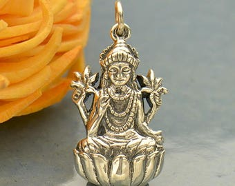 Lakshmi Necklace - Solid 925 Sterling Silver Goddess of Wealth and Prosperity Pendant - Insurance Included
