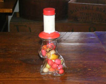 Vintage Glass Dog in Red Tin Top Hat Candy Container with Candy J C Crosetti Co