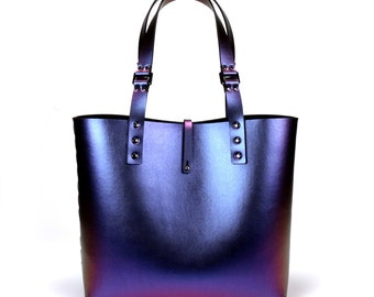 Cobalt Iridescent Tote Bag   Blue to Purple Tote   Vegan   Made in USA