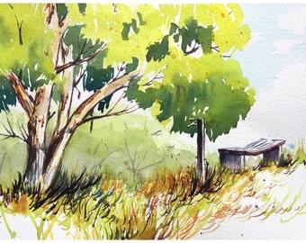 Serene green landscape in watercolour / wall art / home decor / print / original art