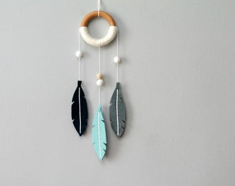 Small Felt Nursery Dream Catcher Wall Hanging. Navy and Aqua Nursery Decor. Felt Feathers Dreamcatcher. Modern Dream Catcher Wall Hanging.