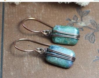 Sale Ruby Kyanite Earrings Copper Wire Wrapped Pink and Turquoise Earrings Gemstone Earrings Rustic Jewelry