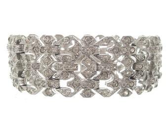 Antique Geometric Art Deco Bracelet, Wide Vintage Rhinestone Cuff, 1920s Art Deco Jewelry, Wedding Art Deco Jewellery