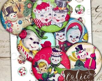 Snowman, Collage Sheet, Retro Snowmen, Digital Collage, 1 Inch Circles, Bottlecap Images, Printable Circles, Instant Download, Christmas