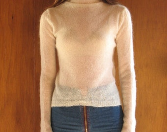DKNY sheer KID MOHAIR turtleneck sweater, P xs