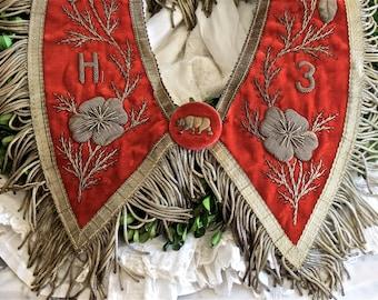 Vintage Lovely......Velvet Metallic Embroidered Bullion Trim Sash