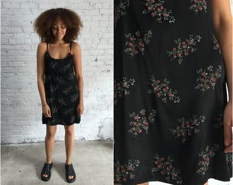 90s black floral slip dress / 1990s grunge floral sleeveless dress