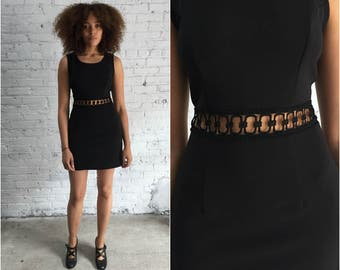 1990s black mini dress / gogo dress with cutout detail / sleeveless mod dress
