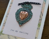 For My Darling Copper Flaming Heart Milagro Greeting Card