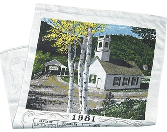 Vintage 1981 Calendar Towel Country Church Among the Birch Trees Birthday Anniversary