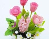Hyacinth Tulips Orange Flowers English Cottage Garden Miniature Polymer Clay Craft 1 piece