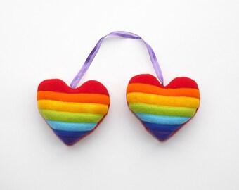 Rainbow heart pair ornament