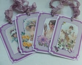 Vintage ladies gift tags, floral, hats, lavender, orchid, butterflies, flowers, sparkly, set of 6