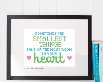 The Smallest Things - Winnie The Pooh Quote Cross Stitch Pattern