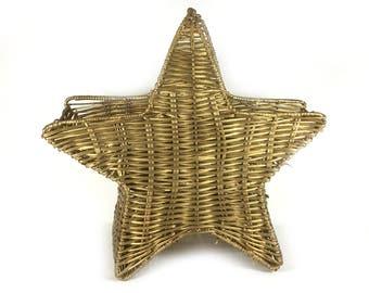 Vintage Gold Star Basket - Wicker and Wire Star Basket