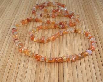 Carnelian Necklace Long Orange Necklace Gemstone Necklace Persimmon Rust Very Long Necklace Agate Necklace Chunky Necklace Multi color