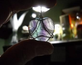 Rainbow Fluorite Heart Amulet
