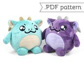 SALE - Chubby Dragon Plush Sewing Pattern .pdf Tutorial Monster