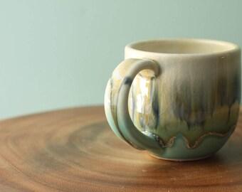 aqua and olive mug