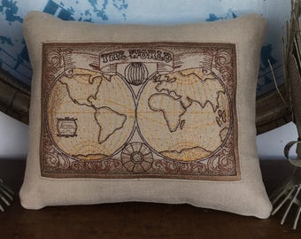 To The World You May Be One Person May Be The World Friendship Love Unique Original Two Sided Embroidered Pillow 10 x 8 Inches
