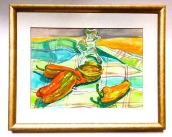 Original Watercolor still life Painting Peppers Oil Cruet Kitchen Decor Wall Home Decor Framed and Matted Ready to Hang, Gwen Meyerson