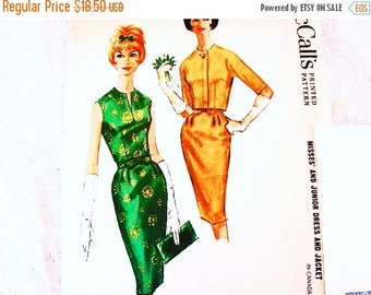 on SALE 25% OFF 1960s Dress Pattern, Misses size 16, UNCUT, Womens Sleeveless Sheath Dress Pattern, Short Jacket, Wiggle Dress Pattern, Vint