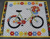Wall Hanging Fabric Quilt Tapestry Bicycles and Blooms Handmade Spring Summer Wall Decor