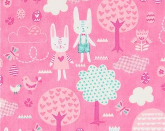 215046 pink with rabbit tree small egg fabric Moda Fabrics