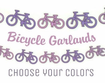 Bicycle Garland, Bike Birthday, Bicycle Banner, Bike Die Cuts, Custom Colors