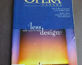 OPERA CANADA Summer 1997, Opera Magazine Canadian Music Scene, Stage Design Issue