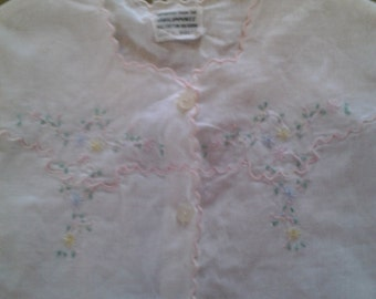 Vintage Hand Embroidered Baby Infant Girl Doll White Cotton Blouse Pink Blue Yellow Flowers Sleeveless
