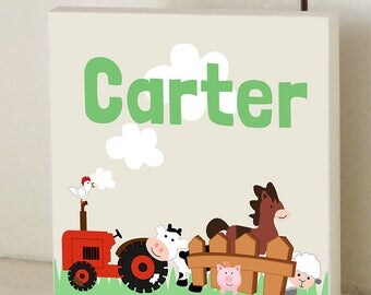 Farm Animal Custom Wood Sign Name Sign Wall Plaque Personalized Nursery Art