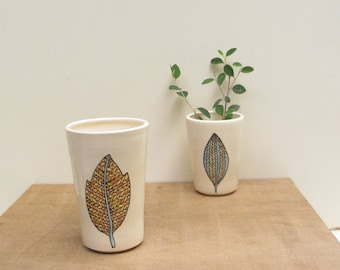 Leaf vase, orange fall leaf vase, small ceramic vase, woodland home decor, hand drawn fall leaf design.