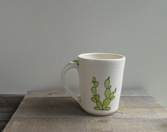 Cactus mug, green cactus coffee mug, hand drawn, desert cactus and succulent mug for him