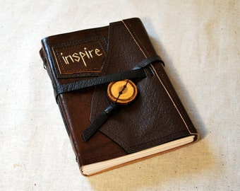 SUMMER SALE:  Inspire Leather Journal with Recycled Paper-Medium