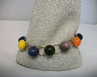 Colorful Hand Blown Glass Bracelet with drops of colored glass