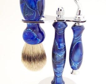 Blue Swirl Acrylic 24mm Silvertip Badger Shaving Brush and Mach 3 Razor Gift Set (Handmade in USA) - Gift for Him - 5th Anniversary