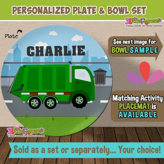 Il_570xn  sc 1 st  Catch My Party & Garbage Truck Plate and Bowl Set - Personalized Plastic Children ...