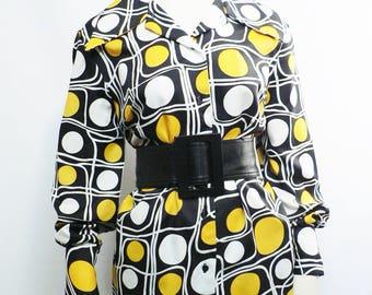 vintage 1960s yellow black op-art blouse/ 60s abstract shirt/ mod blouse/ 70s geometric blouse plus size